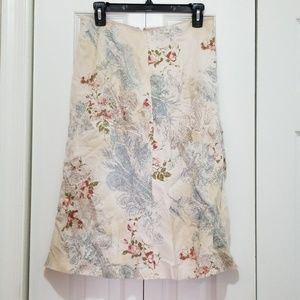 Linen knee length skirt